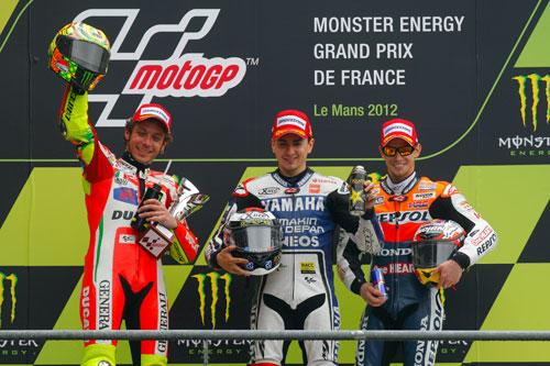 Podio (Rossi, Lorenzo y Stoner) MotoGP (Francia)