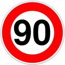 Velocidad máxima 90 km/h DGT