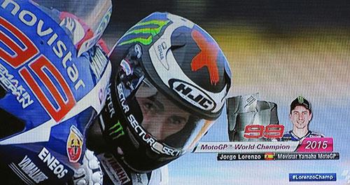Homenaje a Jorge Lorenzo, campeón de MotoGP 2015. Imagen Telecinco