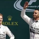 Lewis Hamilton y Rico Rosberg en el podio